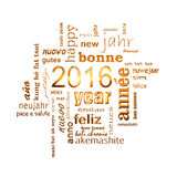 Textwortwolkenquadrat-Grußkarte des neuen Jahres 2016 mehrsprachige goldene auf Weiß Stockfotografie