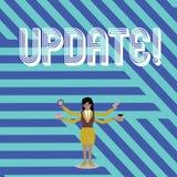 Textzeichen, das Aktualisierung zeigt Begriffsfoto aktuell mit späteste Entwicklungen aktualisierter Geschäftsfrau mit vier Armen vektor abbildung