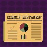 Textzeichen, das allgemeine Fehler-Frage zeigt Begriffsfotowiederholungstat oder Urteil irregef?hrter oder falscher bunter Plan vektor abbildung