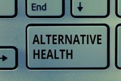 Textzeichen, das alternative Gesundheit zeigt Begriffsfoto Arztpraxen, die nicht Teil Standardsorgfalt sind stockfoto