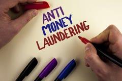 Textzeichen, das Anti-Monay Laundring zeigt Hereinkommende Projekte des Begriffsfotos, zum des weg schmutzigen Geldes zu erhalten lizenzfreie stockfotografie