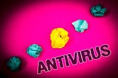 Textzeichen, das Antivirus zeigt Begriffsfoto Verwahrungs-Sperren-Brandmauer-Sicherheits-Verteidigungs-Schutz-Sicherheits-Ideenko Stockfotografie