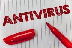 Textzeichen, das Antivirus zeigt Begriffsfoto Verwahrungs-Sperren-Brandmauer-Sicherheits-Verteidigungs-Schutz-Sicherheits-Ideenmi Lizenzfreie Stockbilder