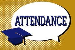 Textzeichen, das Anwesenheit zeigt Begriffsfoto, das an, geht Platz oder Ereignis Zahl der Vertretung anwesend regelmäßig zu sein lizenzfreie abbildung