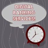 Textzeichen, das Bankdienstleistungen Digital zeigt Begriffsfoto Digital-Analog-Wandlung des ganzes altmodischen ein Bankkonto ha lizenzfreie abbildung
