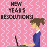 Textzeichen, das Beschlüsse des neuen Jahr-S zeigt Begriffsfoto Ziel-Ziele visiert Entscheidungen für als nächstes 365 Tage an stock abbildung