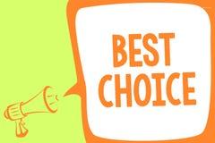 Textzeichen, das beste Wahl zeigt Begriffsfototat des Sammelns oder entscheiden zwischen zwei oder mehr Möglichkeiten Megaphonlau stock abbildung