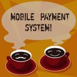 Textzeichen, das bewegliches Zahlungs-System zeigt Begriffsfoto Zahlungsdienstleistung erbracht über Sätze der tragbaren Geräte d stock abbildung