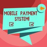 Textzeichen, das bewegliches Zahlungs-System zeigt Begriffsfoto Zahlungsdienstleistung erbracht über tragbare Geräte gefaltetes B vektor abbildung