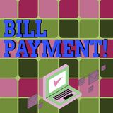 Textzeichen, das Bill Payment zeigt Begriffsfotogeldüberweisung festgelegt auf vorbestimmtem Datum, um Farbpost zu zahlen vektor abbildung