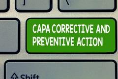 Textzeichen, das Capa korrektiv und vorbeugende Maßnahmen zeigt Begriffsfoto Beseitigung von nonconformities lizenzfreie stockfotografie