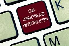Textzeichen, das Capa korrektiv und vorbeugende Maßnahmen zeigt Begriffsfoto Beseitigung von nonconformities stockfoto