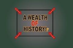 Textzeichen, das einen Reichtum der Geschichte zeigt E lizenzfreie abbildung