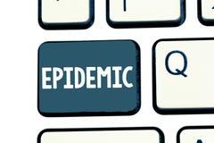 Textzeichen, das Epidemie zeigt Weit verbreitetes Vorkommen des Begriffsfotos einer Infektionskrankheit in einer Gemeinschaft lizenzfreie stockbilder