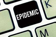 Textzeichen, das Epidemie zeigt Weit verbreitetes Vorkommen des Begriffsfotos einer Infektionskrankheit in einer Gemeinschaft stockfoto