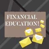 Textzeichen, das Finanzausbildung zeigt Begriffsfoto erlaubt Einzelperson, Entscheidungen mit den fnancial geschlossenen Betriebs vektor abbildung