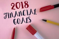Textzeichen, das 2018 Finanzziele zeigt Erwerben neue Geschäftsstrategie des Begriffsfotos mehr Gewinnen weniger Investition, die Stockfotografie