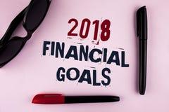 Textzeichen, das 2018 Finanzziele zeigt Erwerben neue Geschäftsstrategie des Begriffsfotos mehr Gewinnen weniger Investition, die Stockbild