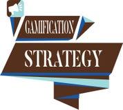 Textzeichen, das Gamifications-Strategie zeigt Begriffsfotogebrauch Belohnungen für Motivation integrieren Spiel-Mechaniker stock abbildung