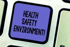 Textzeichen, das Gesundheits-Sicherheits-Umwelt zeigt Umweltschutz und Sicherheit am Arbeitsplatz des Begriffsfotos Taste Absicht stock abbildung
