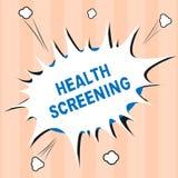Textzeichen, das Gesundheits-Siebung zeigt Begriffsfoto visierte die systematische Aktion an, die entworfen war, um Krankheiten z stockfotos