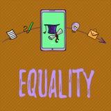 Textzeichen, das Gleichheit zeigt Begriffsfotozustand des Seins gleich besonders in den Statusrechten oder -gelegenheiten lizenzfreie abbildung