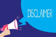 Textzeichen, das Haftungsausschluss zeigt Begriffsfoto Bedingungen Aussage zur Ablehnung des Rechtsanspruches Copyright lizenzfreie abbildung