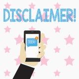 Textzeichen, das Haftungsausschluss zeigt Begriffsfoto Bedingungen Aussage zur Ablehnung des Rechtsanspruches Copyright menschlic stock abbildung