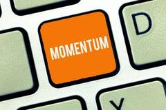 Textzeichen, das Impuls zeigt Begriffsfotomenge Bewegung des Bewegens gemessen als Produktmasse und -geschwindigkeit lizenzfreie stockfotografie