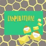 Textzeichen, das Inspiration zeigt Begriffsfoto Anregung, zum etwas zu glauben oder zu tun kreativ stock abbildung