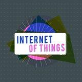 Textzeichen, das Internet von Sachen zeigt Begriffsfotoverbindung von Geräten zum Netz zu den Send-Receivedaten stock abbildung