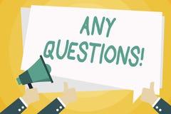 Textzeichen, das irgendwelche Fragen zeigt Begriffsfoto etwas, um das Sie sagen oder schreiben, um zu bitten eine zeigende Hand vektor abbildung