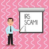 Textzeichen, das IRS Scam zeigt Begriffsfoto beziehen die scammers mit ein, welche die herein vortäuschenden Steuerzahler, intern stock abbildung