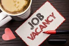 Textzeichen, das Job Vacancy zeigt Begriffsfoto Arbeits-Karriere-freie Positions-Einstellungsbeschäftigungs-Neuzugang-Job geschri stockfotografie