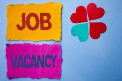 Textzeichen, das Job Vacancy zeigt Begriffsfoto Arbeits-Karriere-freie Positions-tapeziert der Einstellungsbeschäftigungs-Neuzuga stockbild