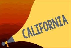 Textzeichen, das Kalifornien zeigt Begriffsfoto Zustand auf Stränden Hollywood der Westküste Vereinigten Staaten von Amerika stock abbildung