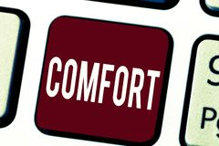 Textzeichen, das Komfort zeigt Körperliche Freiheit Leichtigkeit des Begriffsfotos von Schmerz Entspannung, das bequem stillsteht stockfotos