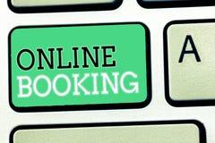 Textzeichen, das on-line-Anmeldung zeigt Begriffsfoto Reservierung durch Internet Hotelunterkunft-Flugschein lizenzfreies stockfoto