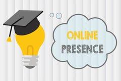 Textzeichen, das on-line-Anwesenheit zeigt Begriffsfotobestehen von jemand, das über eine on-line-Suche gefunden werden kann lizenzfreie abbildung