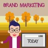 Textzeichen, das Marken-Marketing zeigt Begriffsfoto, das auf der ganzen Welt Bewusstsein über Produkte männlichen Sprecher schaf stockbild