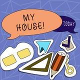 Textzeichen, das mein Haus zeigt Begriffsfotoplatz, den Sie bequem glauben können, Leben kochend und in leerem zwei schlafend stock abbildung