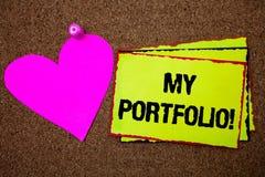 Textzeichen, das meinem Portfolio Motivanruf zeigt Begriffsfoto Proben von Arbeit Kunstzeichnungen, die Fotografie klebriges einf lizenzfreie stockbilder