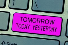 Textzeichen, das morgen heute gestern darstellt Begriffsfoto Adverbien der Zeit sagt uns, als eine Sache geschah stockfotos