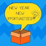 Textzeichen, das neues Jahr-neue Gelegenheiten zeigt Begriffsfoto Neustart-Motivationsinspiration 365 Tagideenikone innerhalb des vektor abbildung