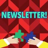 Textzeichen, das Newsletter zeigt Begriffsfoto Bulletin regelmäßig geschickt den Mitgliedern der Gruppe lizenzfreie abbildung