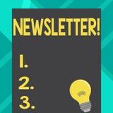 Textzeichen, das Newsletter zeigt Begriffsfoto Bulletin regelmäßig geschickt zum unterzeichneten Mitgliedsnachrichtenreport weiß  vektor abbildung