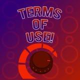 Textzeichen, das Nutzungsbedingungen zeigt Begriffsfoto stellte Bedingungen für die Anwendung etwas Politik-Vereinbarungen her vektor abbildung