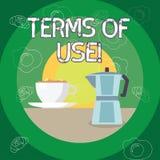 Textzeichen, das Nutzungsbedingungen zeigt Begriffsfoto stellte Bedingungen für die Anwendung etwas Politik-Vereinbarungen her lizenzfreie abbildung