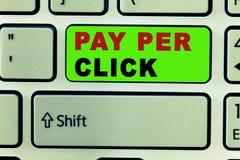 Textzeichen, das Pay per Click zeigt Begriffsfoto Internet-Werbungs-Modell-Search Engine-Marketingstrategie vektor abbildung