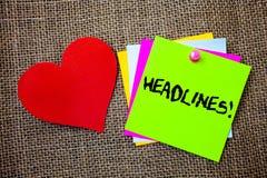 Textzeichen, das Schlagzeilen Motivanruf zeigt Begriffsfoto Überschrift an der Spitze eines Artikels in den Zeitung Ideensachen,  stockfotos